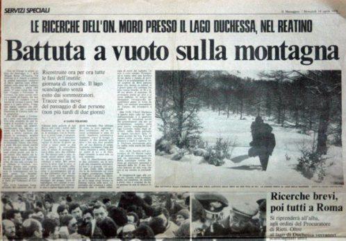 """Pagina del quotidiano """"Il Messaggero"""" del 19 aprile 1978. fonte: riservaduchessa.it"""