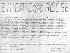Il falso comunicato delle BR in cui si fa cenno del lago come il luogo in cui poter recuperare la salma di Aldo Moro. fonte: corriere.it