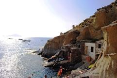 Le vecchie rimesse scavate nella roccia dai pescatori a Pollara. Agosto 2013